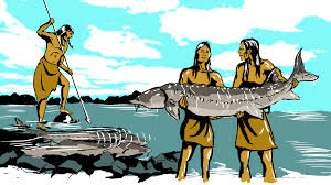 Illustration of the Menominee spearing sturgeon.